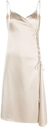 Raquette Lace-Up Detail Slip Dress