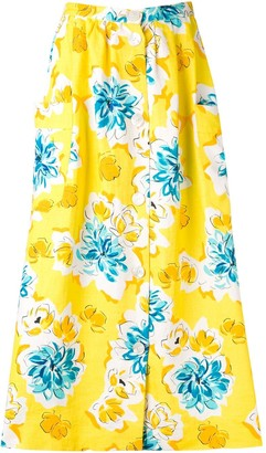 Céline Pre Owned 1970s Pre-Owned Floral Print Skirt