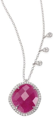 Meira T Diamond, Ruby, 14K White Gold Pendant Necklace
