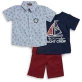 Nannette Little Boys Sailboat Sportshirt, Tee and Shorts Set