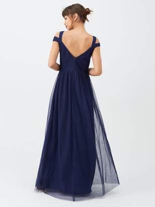 Little Mistress Bridesmaid Cold Shoulder Maxi Dress - Navy