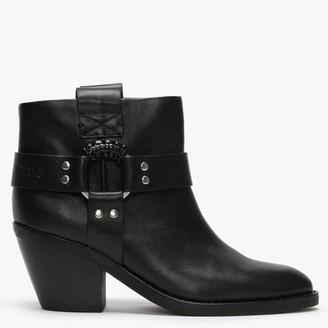 See by Chloe F Eddie Black Leather Western Ankle Boots
