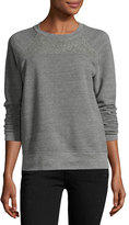 Current/Elliott The Seamed Raglan Sweatshirt w/Studs, Heather Gray