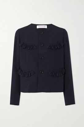 COMME DES GARÇONS GIRL Cropped Ruffled Wool Jacket - Navy