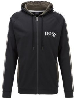 HUGO BOSS Hooded Loungewear Jacket In French Cotton Terry - Black