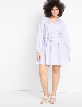 ELOQUII Stripe Tiered Day Dress
