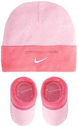Nike Baby Girl Pink Beanie Hat & Booties Set