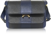 Marni Night Blue and Black Striped Saffiano Leather Mini Trunk Bag