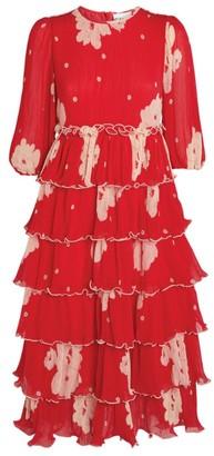 Ganni Pleated Tiered Dress