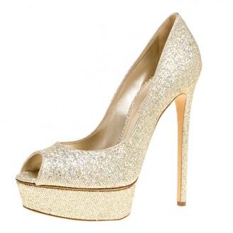 Casadei Glitter Lame Fabric Daisy Peep Toe Platform Pumps Size 40