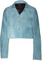 Amiri cobalt cropped fringe suede jacket