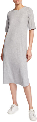 Eileen Fisher Stretch Rib Crewneck Midi Dress