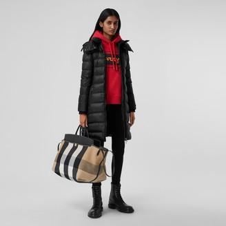 Burberry Detachabe Hood Rib Knit Pane ECONY Puffer Coat