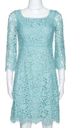 Dolce & Gabbana Mint Green Lace Scalloped Hem Sheath Dress S
