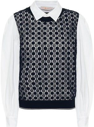 Tory Burch Crochet-paneled cotton-blend shirt