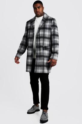 boohoo Mens Grey Big & Tall Wool Look Overcoat In Brushed Check, Grey