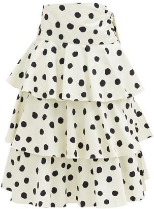 Adriana Degreas Tiered Polka-dot Cotton-blend Midi Skirt - Cream Print