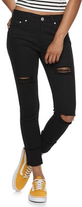 Almost Famous Juniors' Mid Rise High Cuff Skinny Jeans