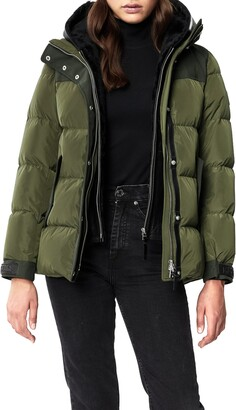 Mackage Rania Water Resistant Down Puffer Coat with Removable Genuine Shearling Bib