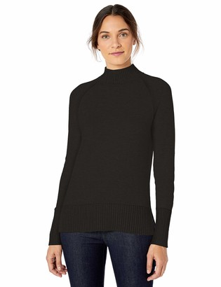 Lark & Ro Rib Detail Mock Neck Sweater Black S