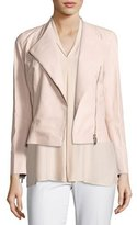 Lafayette 148 New York Brianna Embossed Lambskin Moto Jacket, Bright Pink