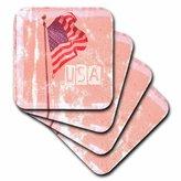 3dRose cst_29514_3 American Flag USA Art Patriotic Americana Photography-Ceramic Tile Coasters, Set of 4