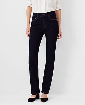 Ann Taylor Petite Curvy Sculpting Pocket Slim Boot Cut Jeans in Classic Rinse Wash