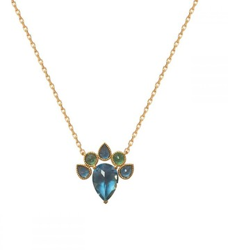 Perle de Lune Queen Necklace - Blue Topaz, Green Tourmaline &18K Gold