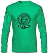 Versace Logo For Men's Printed Long Sleeve Cotton Tshirt Large Green