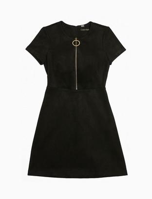 Calvin Klein Suede Zip-Front Shift Dress