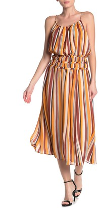 Frame Smocked Waist Stripe Silk Midi Dress
