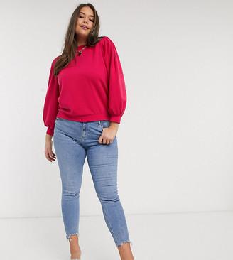 Vero Moda Curve sweat with puff sleeve in raspberry