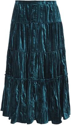 MICHAEL Michael Kors Plisse-velvet Midi Skirt