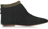 Jerome Dreyfuss Francoise Black Suede Low Boot w/Fringe