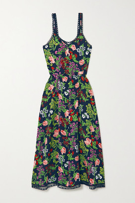 Molly Goddard Romy Lace-trimmed Floral-print Woven Midi Dress - Black