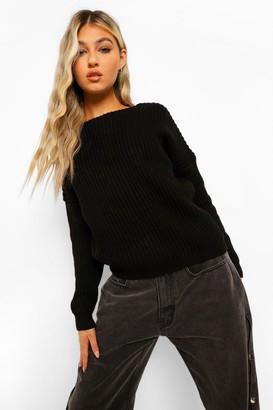 boohoo Tall Lace Trim Chunky Knit V-Neck Back Sweater