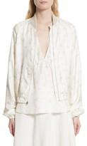 Elizabeth and James Women's Jacque Floral Print Silk Bomber Jacket