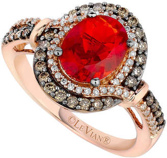 LeVian CORP Le Vian Grand Sample Sale Ring featuring Neon Tangerine Fire Opal, Chocolate Diamonds, Vanilla Diamonds set in 14K Strawberry Gold