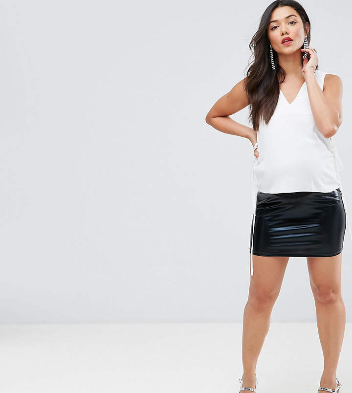 Asos Over The Bump Laqured Mini Skirt