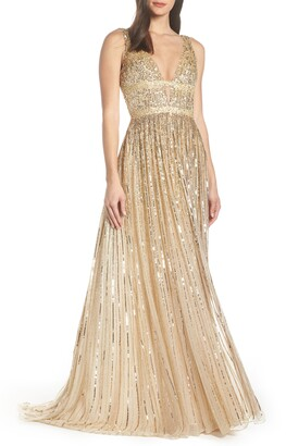 Mac Duggal Plunge Neck Sequin Stripe Gown