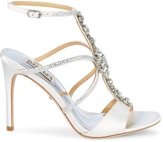Badgley Mischka Faye Crystal-Embellished T-Strap Satin Sandals