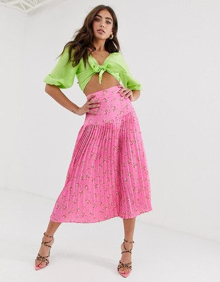 Never Fully Dressed pleated midi skirt in pink floral print