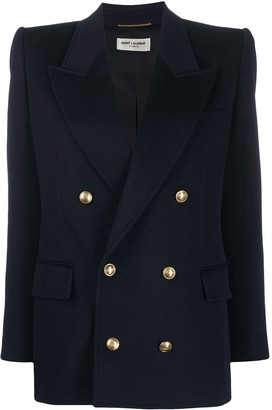 Saint Laurent Embossed-Buttons Double-Breasted Blazer