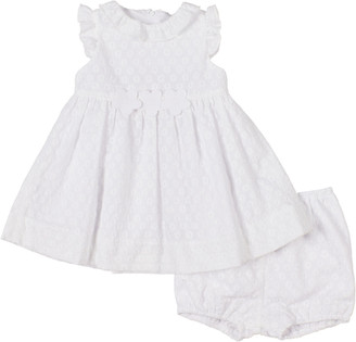 Florence Eiseman Girl's Eyelet Embroidered Ruffle Dress w/ Bloomers, Size 3-18M