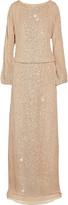 Haute Hippie Sequin-scattered silk-chiffon gown