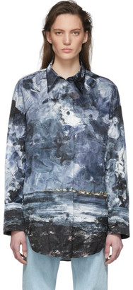 Acne Studios Blue Creased Landscape Painting Shirt