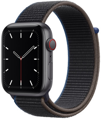 Apple Watch SE GPS + Cellular, 44mm Space Gray Aluminum Case with Charcoal Sport Loop