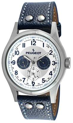 Peugeot Men's Stainless Steel Multi Function Blue Leather Watch