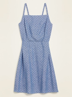 Old Navy Dot-Print Linen-Blend Fit & Flare Cami Sundress for Women