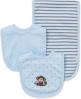 Little Me Baby Boys' 3-Piece Monkey Bibs & Burp Cloth Set